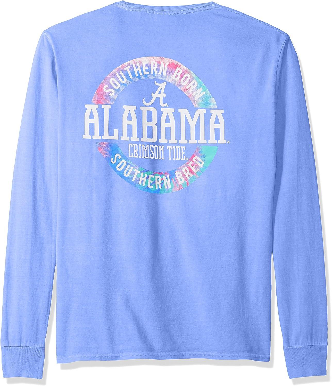NCAA Alabama Crimson Tide Adult NCAA Dyed Ringspun Longsleeve Tee with Pocket,Large,Periwinkle