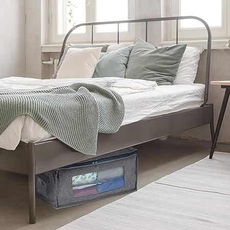 Relaxdays Aufbewahrungstasche Unterbett Stoff HBT: 20x45x30 cm mit Rei/ßverschluss Kleidung faltbar 3er Set grau