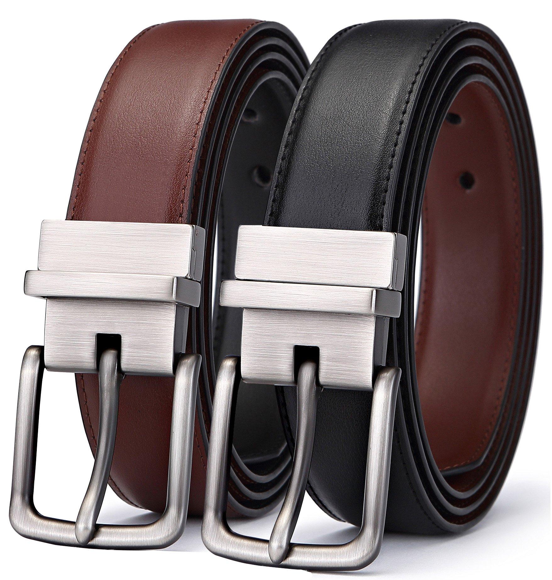 Men's Belt, Bulliant Genuine Leather Reversible Belt for Men 1.25'',Size Adjustable byTrim to Fit