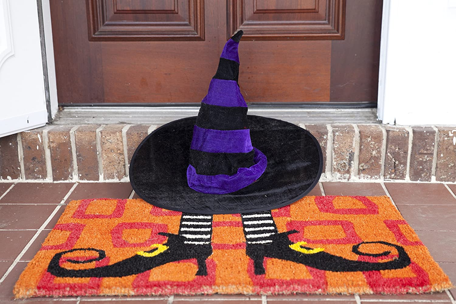 Entryways Wicked Witch Shoes Handmade, Hand-Stenciled, All-Natural Coconut Fiber Coir Doormat,  18
