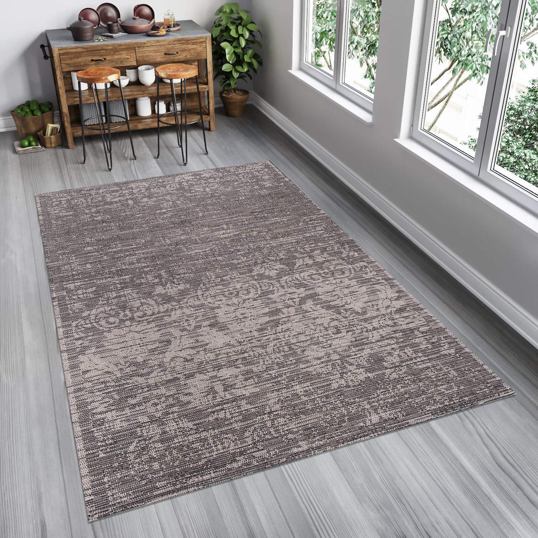 Tapiso FLOORLUX Teppich Sisal Optik Flachgewebe Strapazierfähig Schwarz Grau Verwischt Ornament Floral Muster Designer Küche 140 x 200 cm
