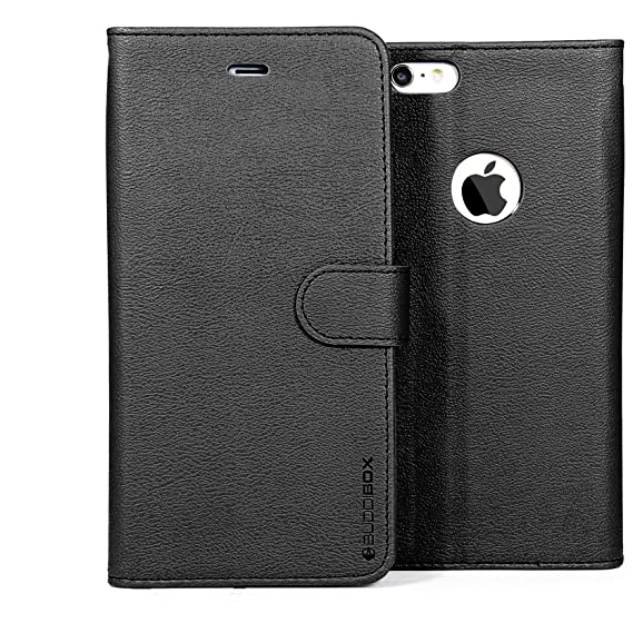 finest selection 0c7fc cda75 iPhone 6 Case, BUDDIBOX [Wallet Case] Premium PU Leather Wallet Case with  [Kickstand] Card Holder and ID Slot for Apple iPhone 6, (Black with Pink)