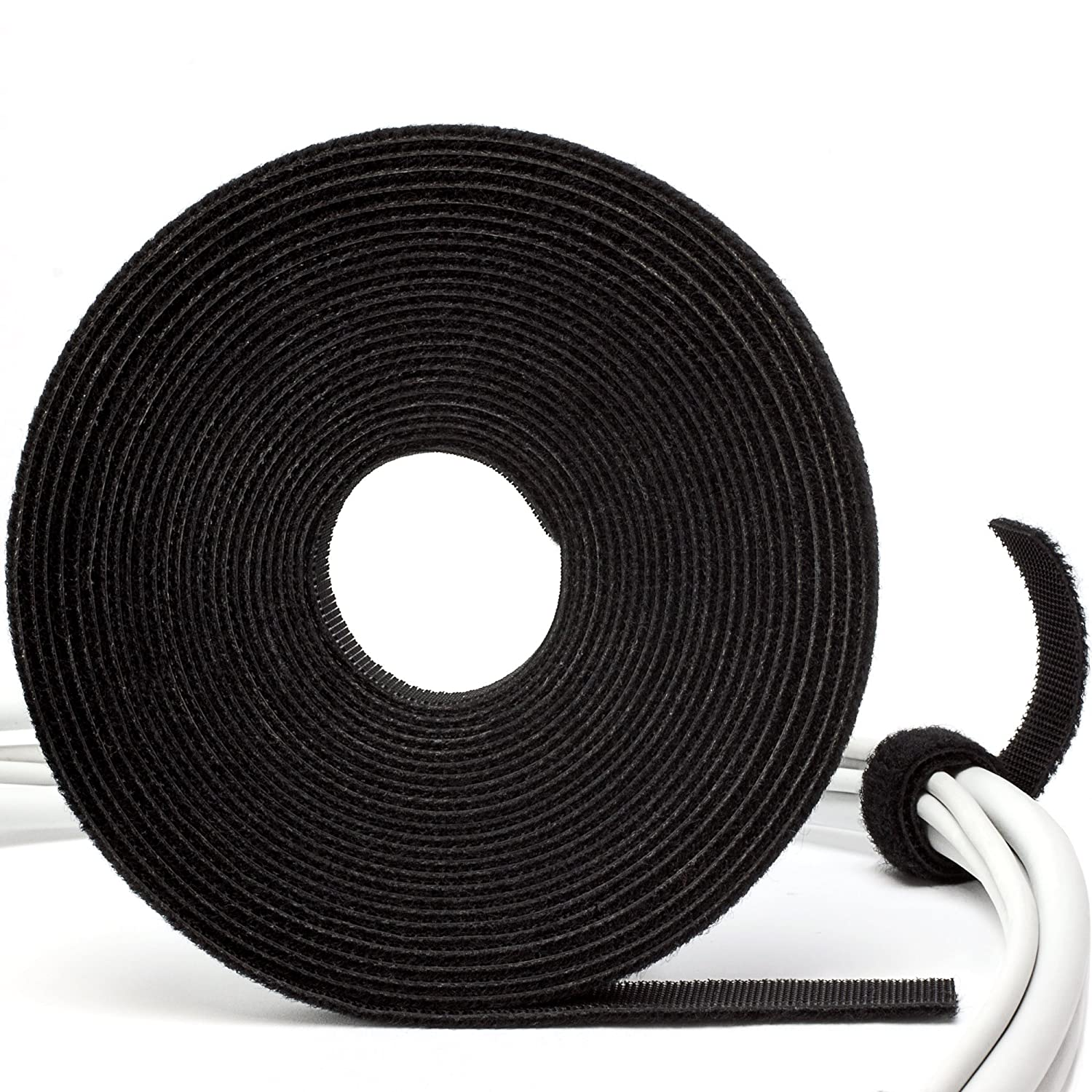 Purovi 5 Metre Cable Manager Tape Tidy Office and Home Adjustable Cables Organiser 10 mm Wide Hook and Loop Cable Ties Roll