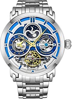Stuhrling Original Mens Automatic-Self-Wind Luxury Dress Skeleton Dual Time Gold-Tone