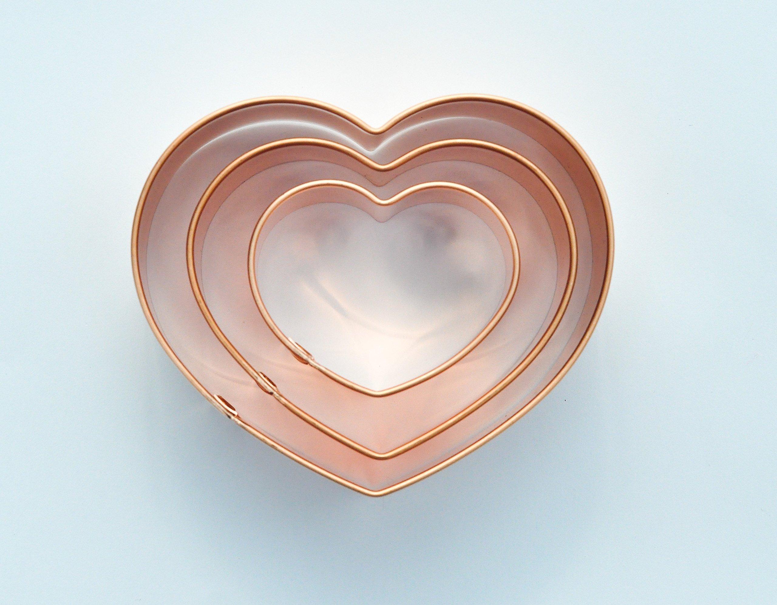 ecrandal Set of 3 Classic Heart copper cookie cutters