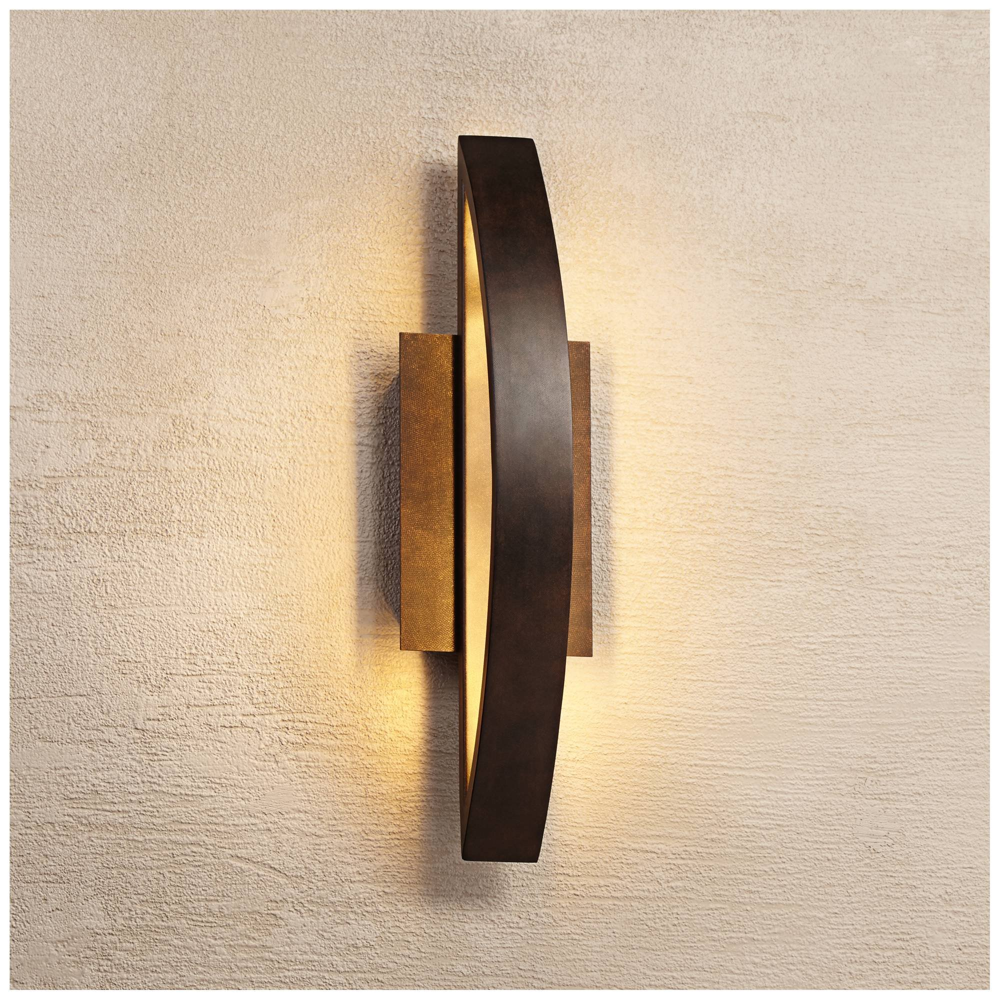 Modern Outdoor Wall Light Fixture LED Coppered Bronze 20 1/2'' Arching Steel Frame for Exterior House Porch Patio Deck - Possini Euro Design