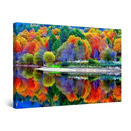 Startonight Quadro su Tela I Colori della Foresta, Quadri Moderni Paesaggio  Stampe Camere da Letto 60 x 90 cm