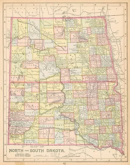 Amazon.com: Vintage Map | 1892 Map of North and South Dakota ...