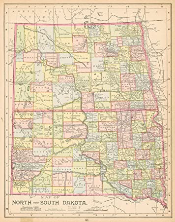 Amazon.com: Vintage Map - 1892 Map of North and South Dakota ...