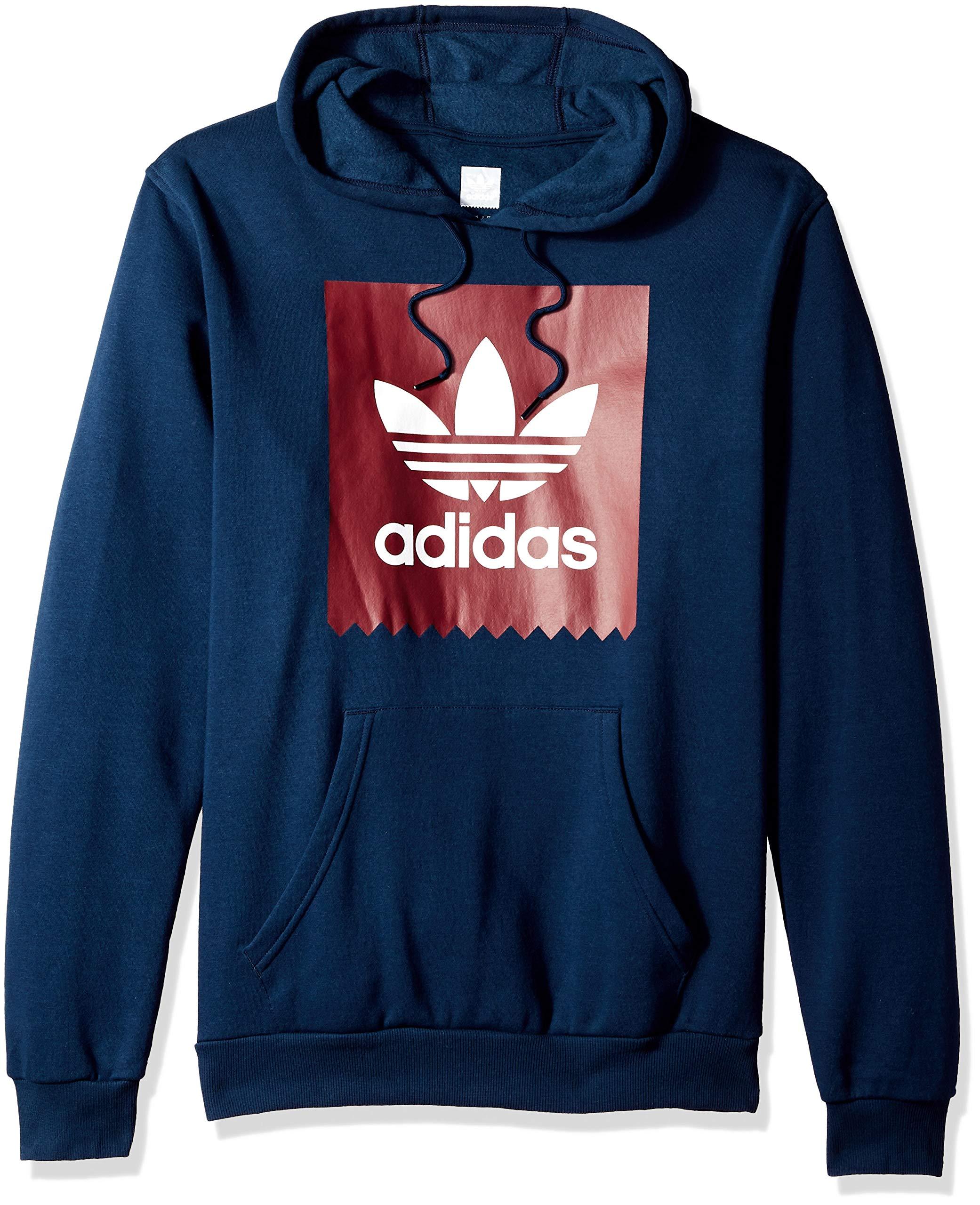 adidas Originals Men's Solid Bb Hoodie, Navy/Collegiate Burgundy/White, 2XL by adidas Originals