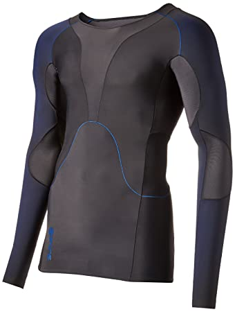 SKINS Men's RY400 Compression Long Sleeve Recovery Top, Graphite/Blue,  X-Small
