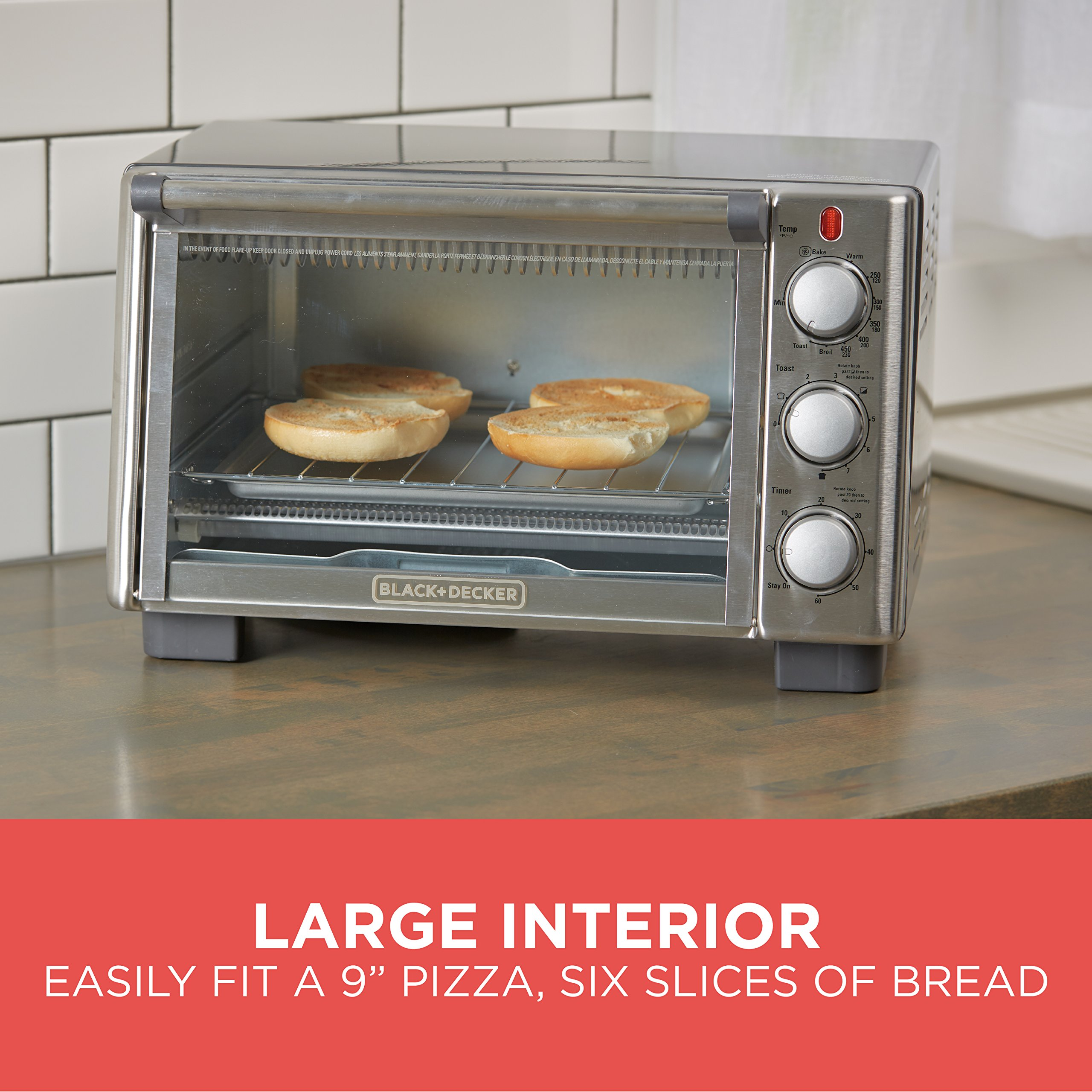 BLACK+DECKER 6-Slice Convection Countertop Toaster Oven, Stainless Steel/Black, TO2050S by BLACK+DECKER (Image #6)