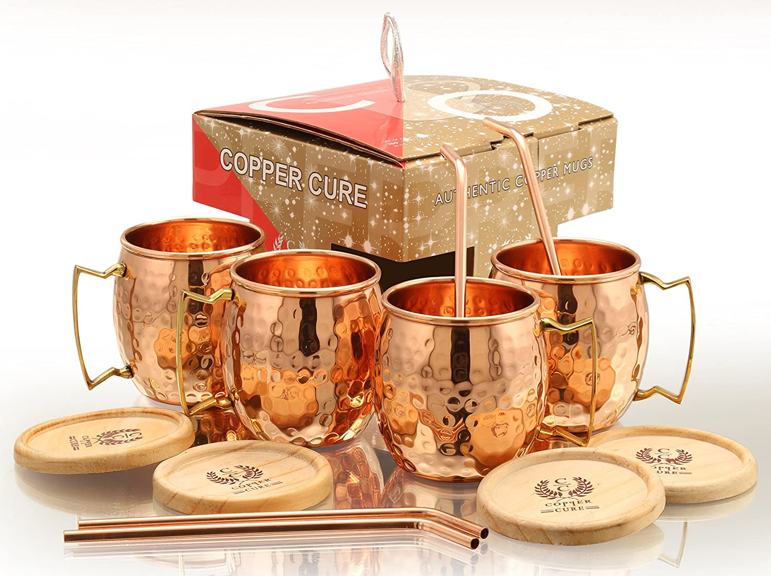Moscow Mule Copper Mugs With BONUS Copper Straws & Coasters - 16 Oz Moscow Mule Copper Mugs – 100% Solid Copper Hammered Mug - Set of 4 (GIFT SET) Copper Cups for Moscow Mule by Copper Cure