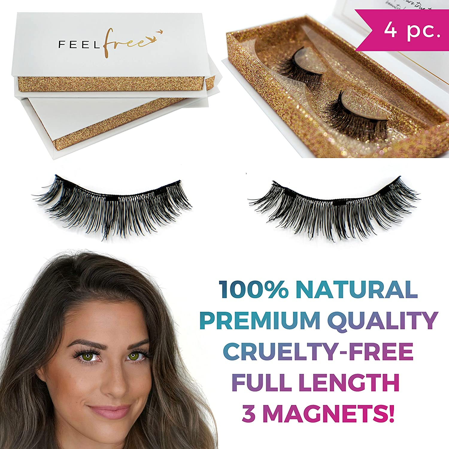 Premium Triple Magnetic Eyelashes by Feel Free Beauty. Enhance Your Natural Beauty With Full Length Lashes -100% Natural Silk, Cruelty-Free, Easy To Apply, Reusable, Forms To Eye's Natural Shape