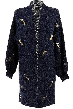 Gilet long grande taille laine hiver CHANTILLY Gris