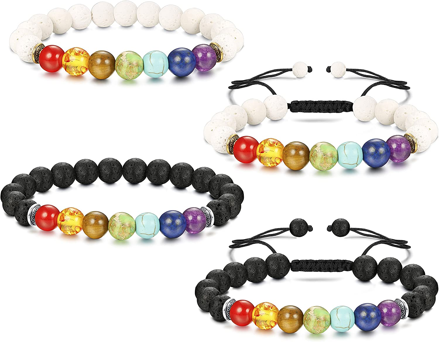 Jstyle 4Pcs Lava Bead Bracelet for Women Men Essential Oil Beads Chakra Yoga Bracelets Set