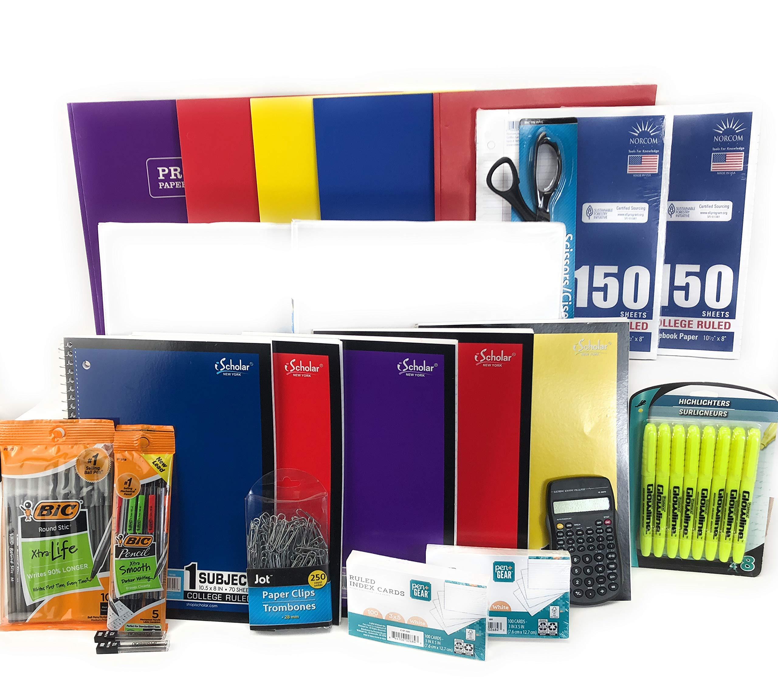 Notebook, Pencils, Pens, Highlighters, Binders, Index Cards, Calculator 44 piece Back to School Bundle