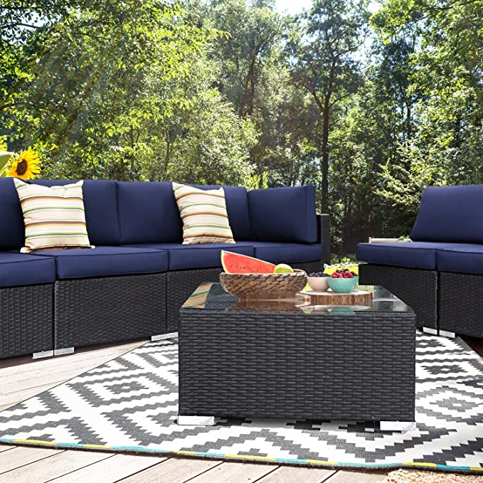 EXCITED WORK 7PCs Outdoor Patio Rattan Sofa Cushions and Glass Table Sectional Furniture Set Manual Weaving Conversation Set with Pillow