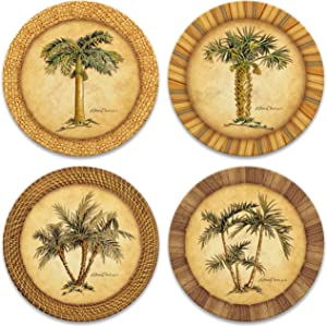 CoasterStone Absorbent Stone Drink Coasters, Palm Tree, Assortment, Neutral Palette