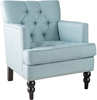 Medford | Button Tufted Fabric Club Chair | In Light Blue