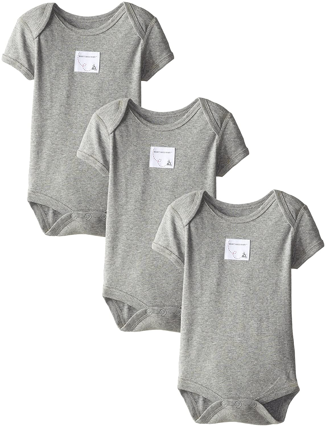 Burt's Bees Baby Organic Set of 3 Bee Essentials Short Sleeve Bodysuits