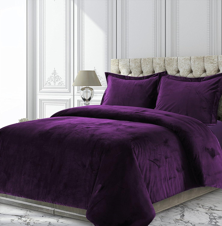 Tribeca Living VENICEDUVETKIPU Venice Velvet Oversized Solid Duvet Set, King, Purple