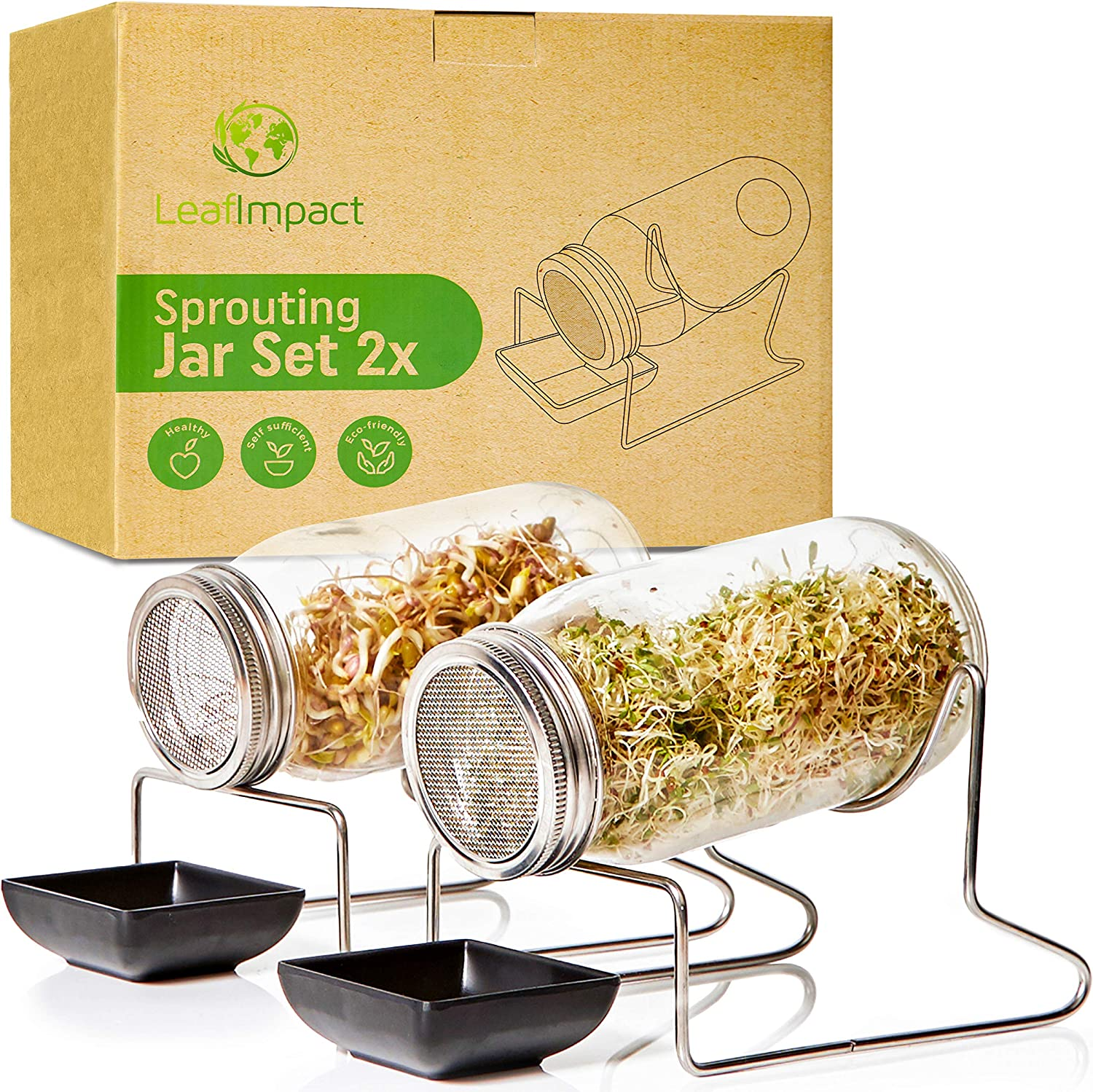 2 Pack Seed Sprouting Jar Kit | Complete Indoor Growing Set for Making Sprouts | Easy Organic Sprouts at Home | Sprout Starter Kit | Mason Jar for Sprouting Broccoli, Alfalfa, Mung Beans and More