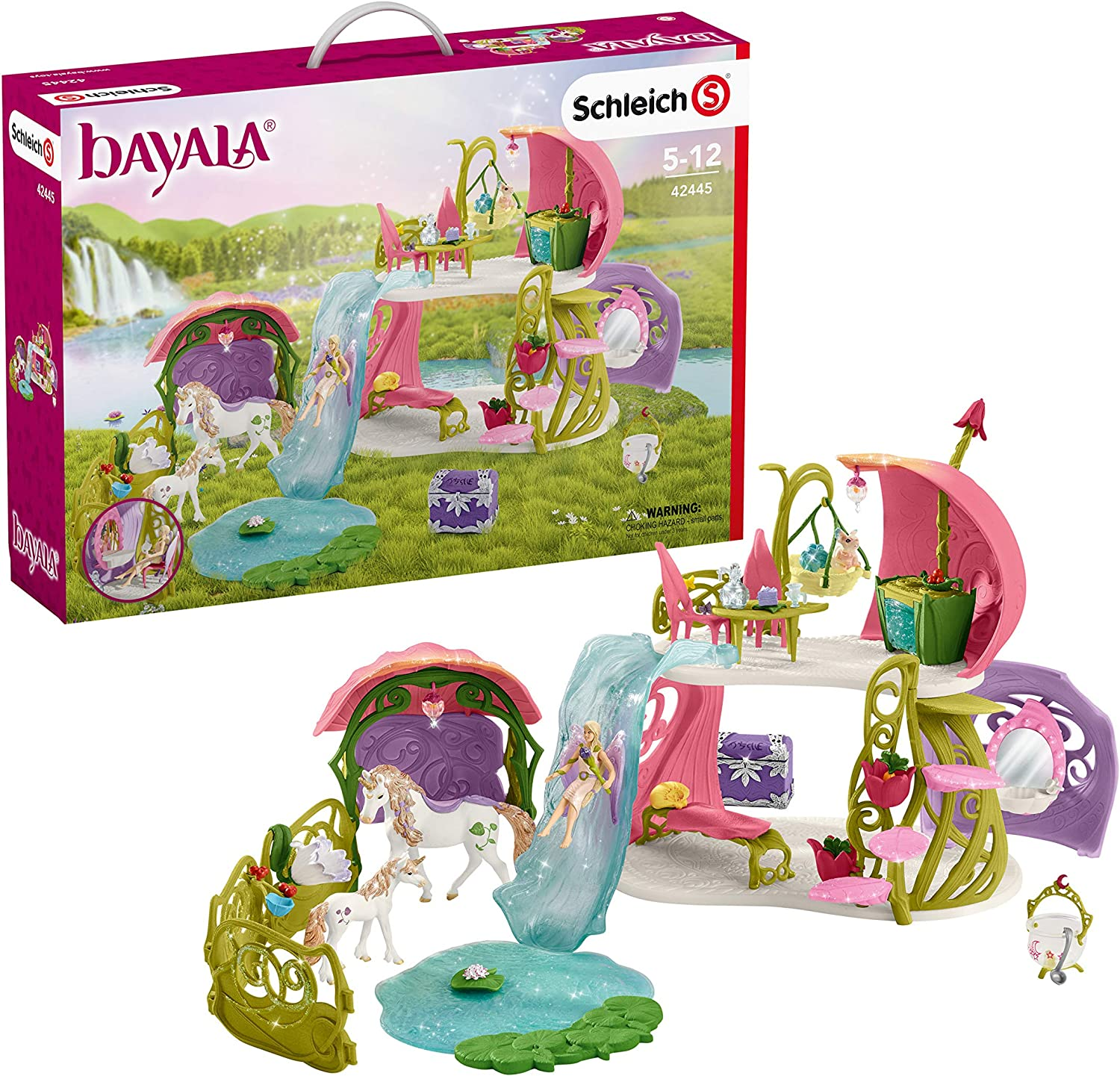 Schleich bayala 54-Piece Fairy Dollhouse & Stable with Unicorns Toy Set for Kids Ages 5-12