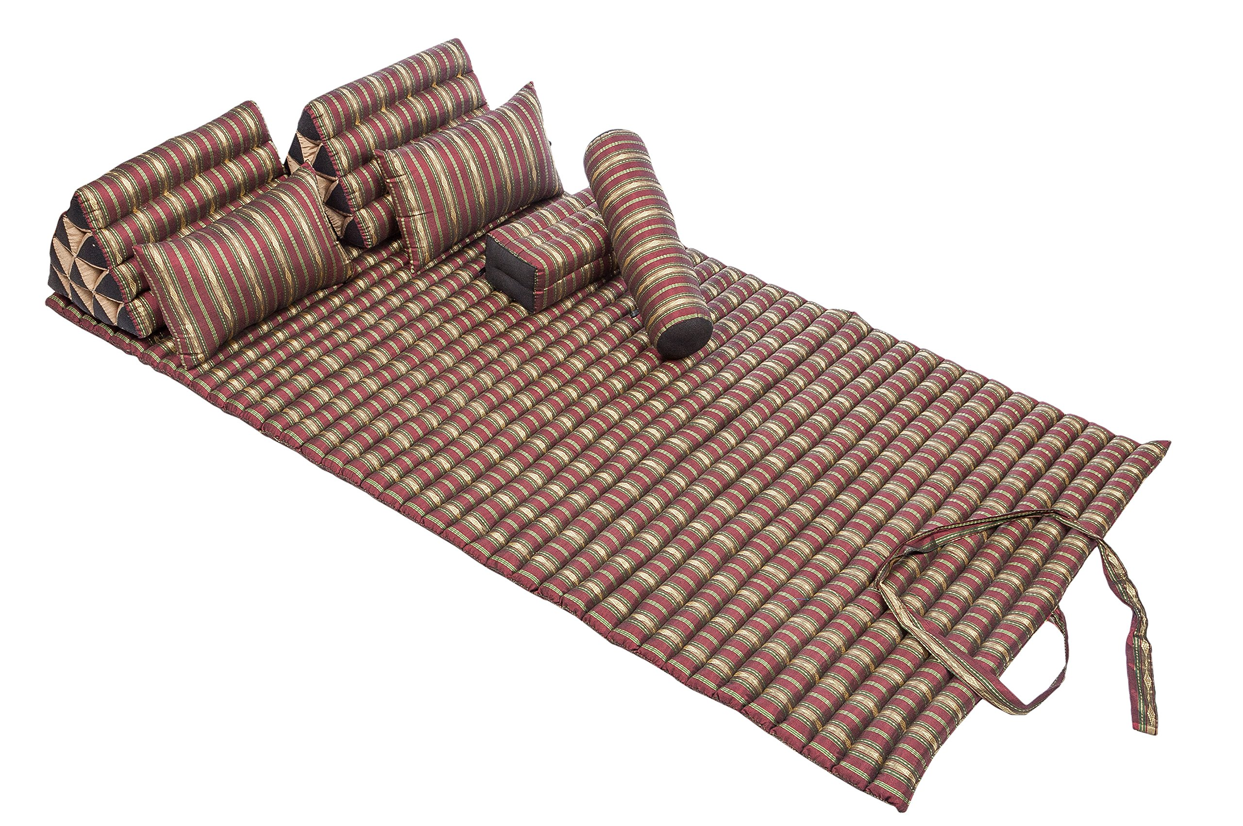 Siam Set: Kapok Mat + 2 Triangles + 2 Support&Throw Pillows + Pillow Block + Bolsters 100% Kapok Filling by Handelsturm