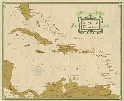 Amazon.com: Caribbean Wall Map with West Indies Decorative Modern ...
