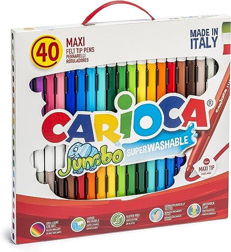 Caja de 40 rotuladores Jumbo, con punta gruesa, colores surtidos: Amazon.es: Oficina y papelería