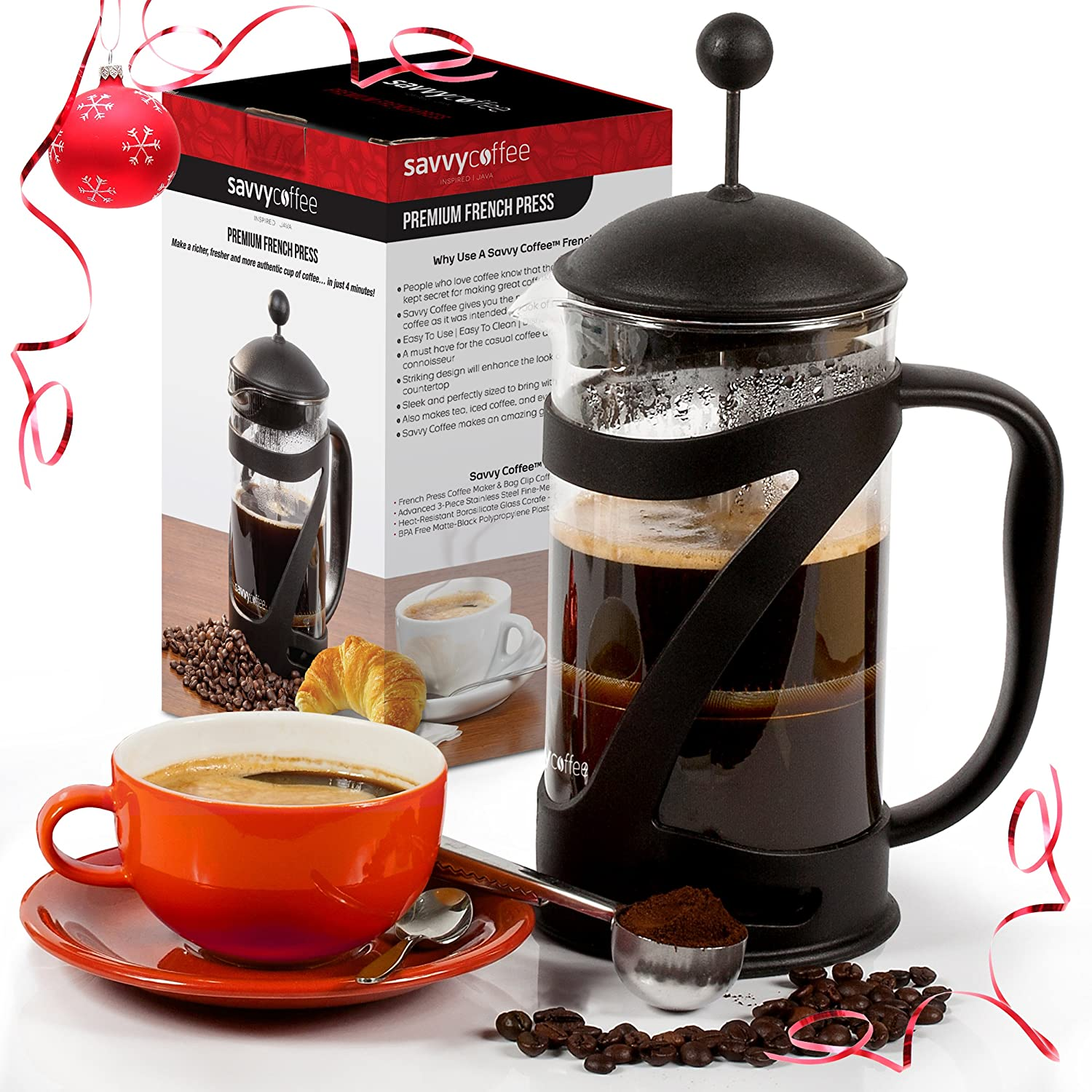 Amazon.com: French Press Coffee Maker And Stainless Steel Coffee Scoop Set    34 Oz   By Savvy Coffee: Kitchen U0026 Dining