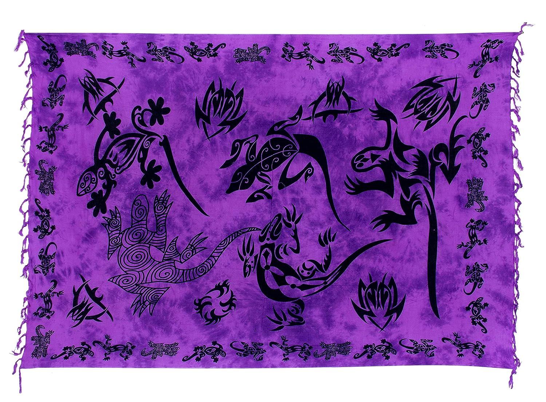 Sarong Pareo Wickelrock Strandtuch Handtuch Wickelkleid Strandkleid Schal ca. 170cm x 110cm Gecko Design Lila Tribal