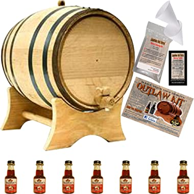 Barrel Aged Whiskey Making Kit - Create Your Own Cherry Bourbon Whiskey - The Outlaw Kit from Skeeter's Reserve Outlaw Gear - MADE BY American Oak Barrel (Natural Oak, Black Hoops, 5 Liter)