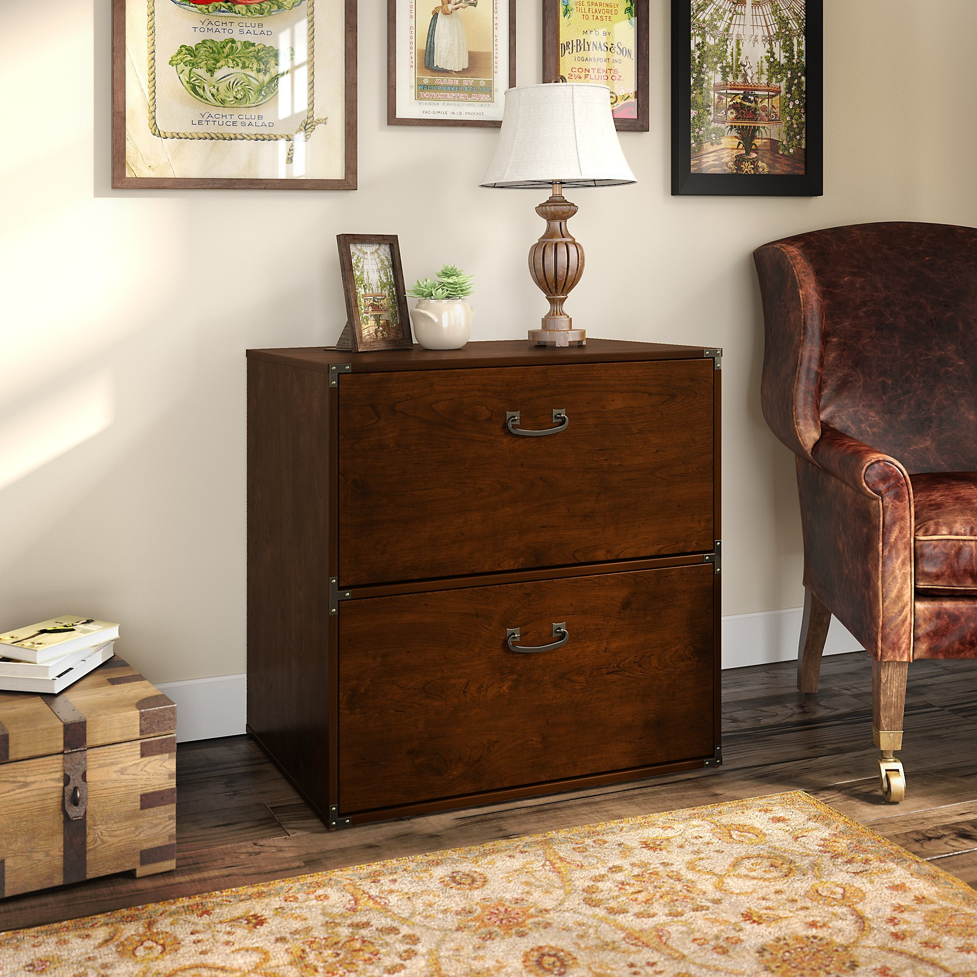 kathy ireland Home by Bush Furniture Ironworks Lateral File Cabinet in Coastal Cherry by kathy ireland Home by Bush Furniture