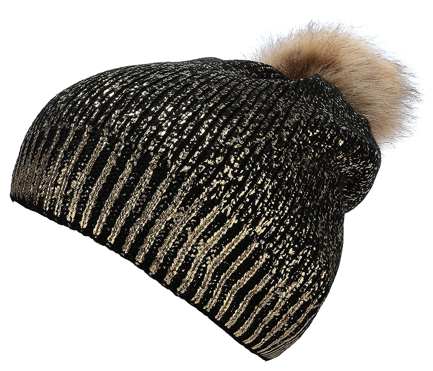 3ad3cc40c2c79 Thick Sparkly Knit Hat Metallic Shine Faux Fur Pom Pom Slouch Beanie Hats  Black Gold at Amazon Women s Clothing store