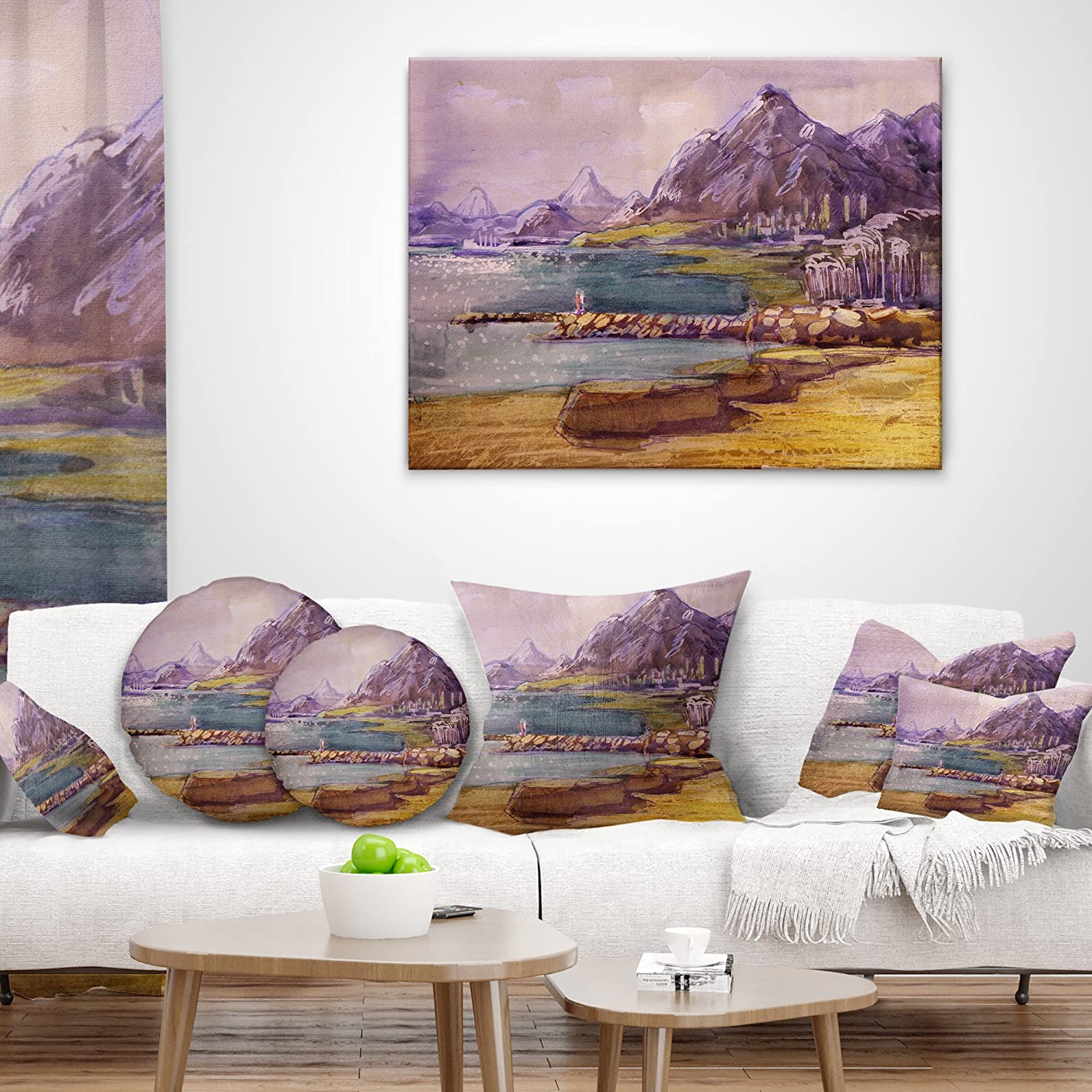 Designart CU6355-18-18 Purple Hills Landscape Printed Throw Round Cushion Pillow Cover for Living Room x 18 in 18 in in Sofa Insert Side