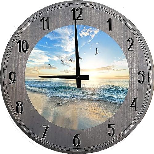 556 Gear Beach Wall Clock Beachy Decorations Home Decor Sky Blue Beige