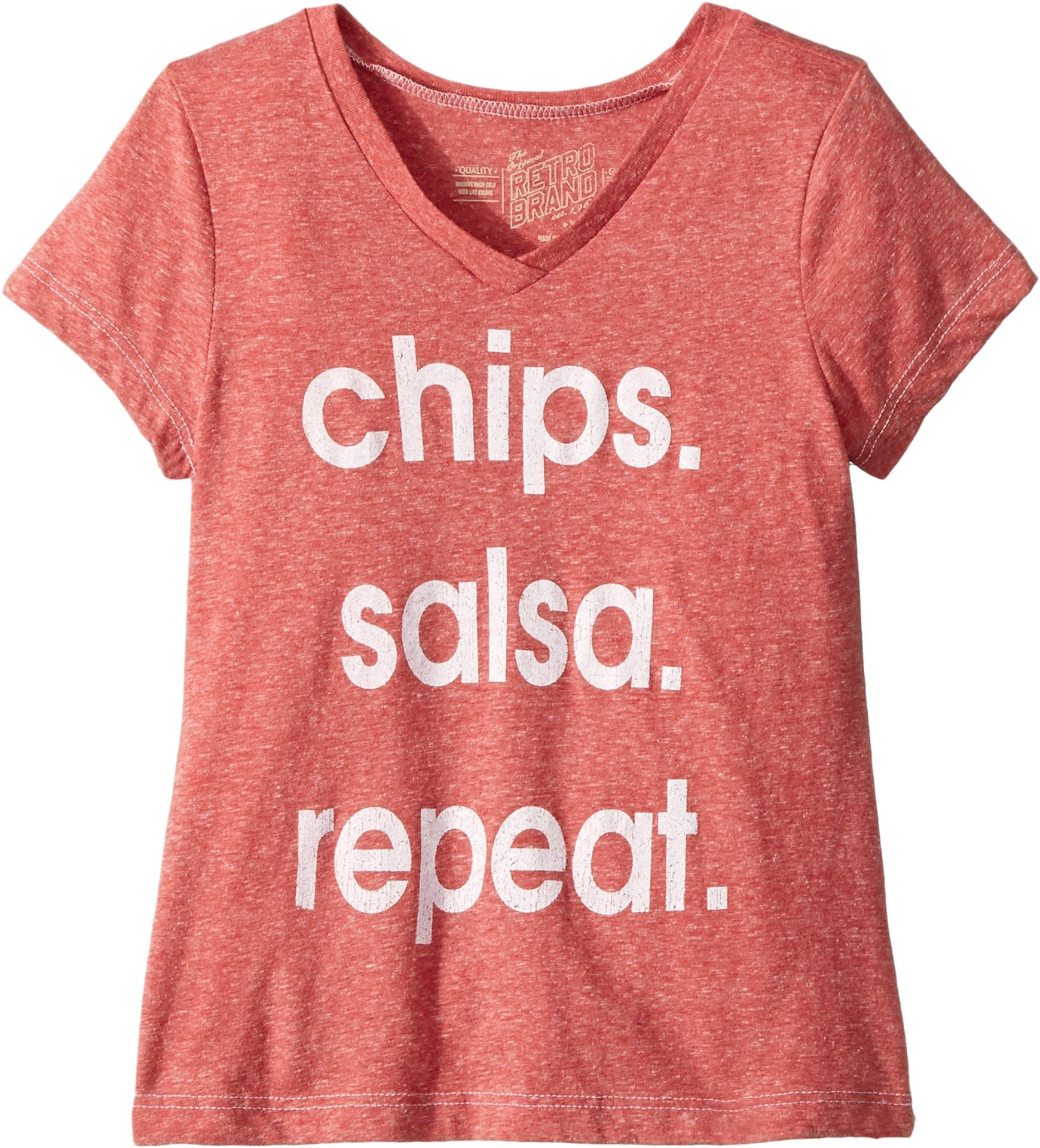 The Original Retro Brand Kids Girl's Chips Salsa repeat Tri-Blend T-Shirt (Big Kids) Streaky Red Medium by The Original Retro Brand Kids (Image #1)