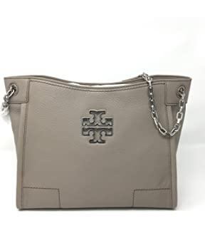 c75c9a88e4c5 Tory Burch Britten Small Slouchy Tote In French Grey Style 390570817