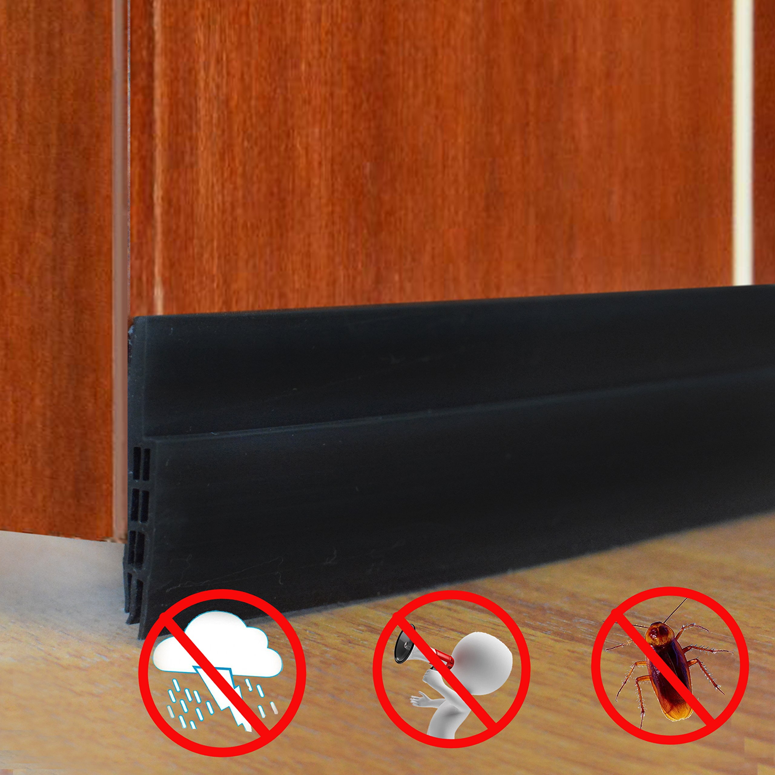 Under Door Sweep Weather Stripping Soundproof door Draft Stopper Direct Energy Saver for Door Bottom Seal, 1.6'' Width×39'' Length