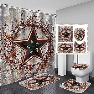 Jayden&Madge 4PCS/SET Western Texas Star Shower Curtain, Red Primitive Berries Rustic Panel Plank Wooden Board Vintage Country Farmhouse Bathroom Decor, Non-slip Bathroom Mat Toilet Rug, American Flag