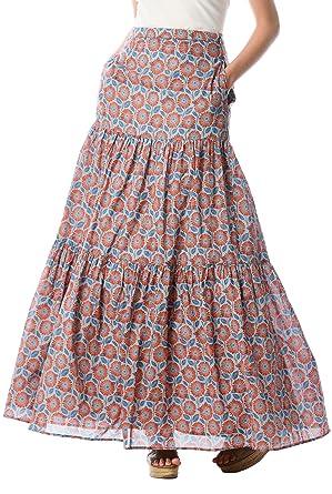 60s Skirts | 70s Hippie Skirts, Jumper Dresses eShakti Womens Floral Print Cotton Voile Tier Maxi Skirt $74.95 AT vintagedancer.com