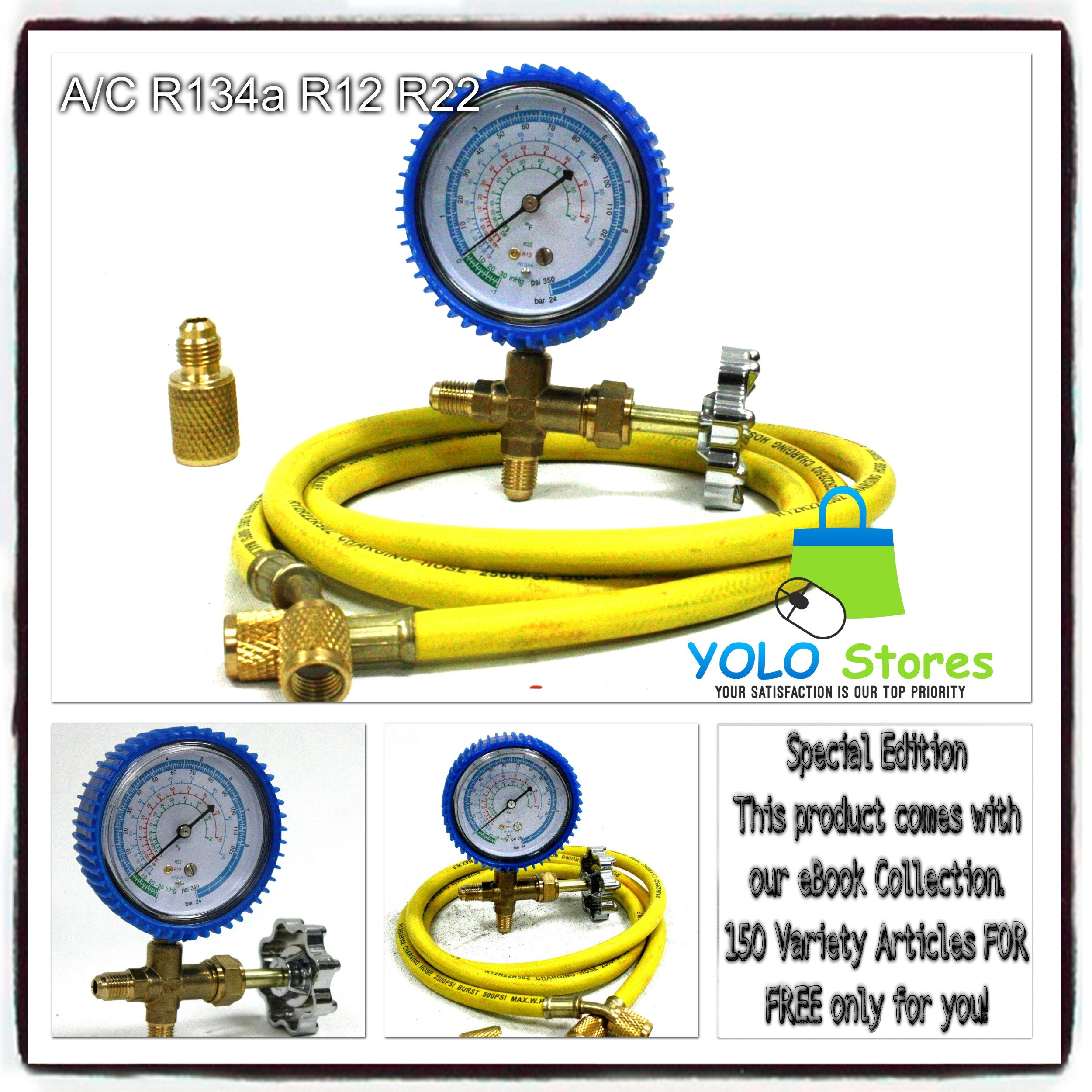 A/C R134a R12 R22 Single Manifold Gauge Kit 4 Testing Charging Air Conditioner By YOLO Stores