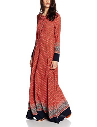 Glamorous Womens Printed Maxi Long Sleeve Dress, Red (Red Navy Border), 10