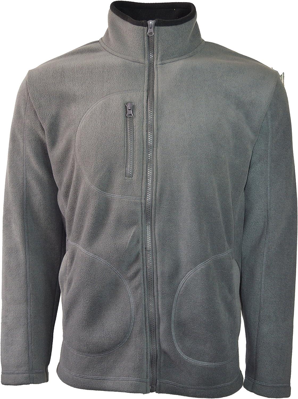 Maximos Mens Fleece Jacket Windproof Water-Resistant Outdoor Athletic Garment Grey