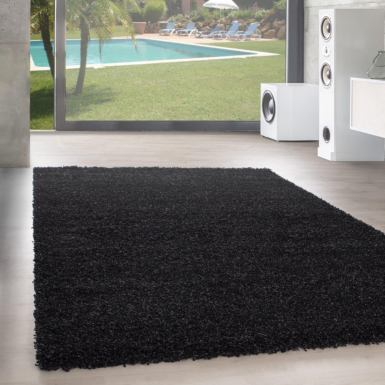 Unbekannt Shaggy Hochflor Langflor Teppich Wohnzimmer Carpet Uni Farben, Rechteck, Rund, Größe 200x290 cm, Farbe Anthrazit