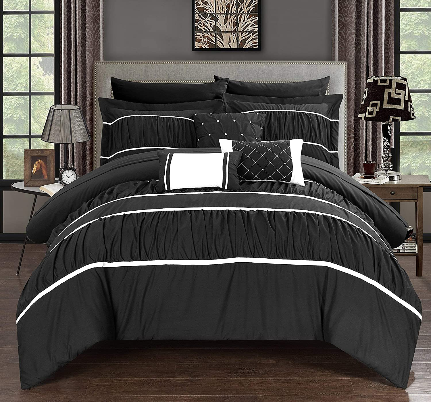 Chic Home Cheryl Comforter, Queen, Black