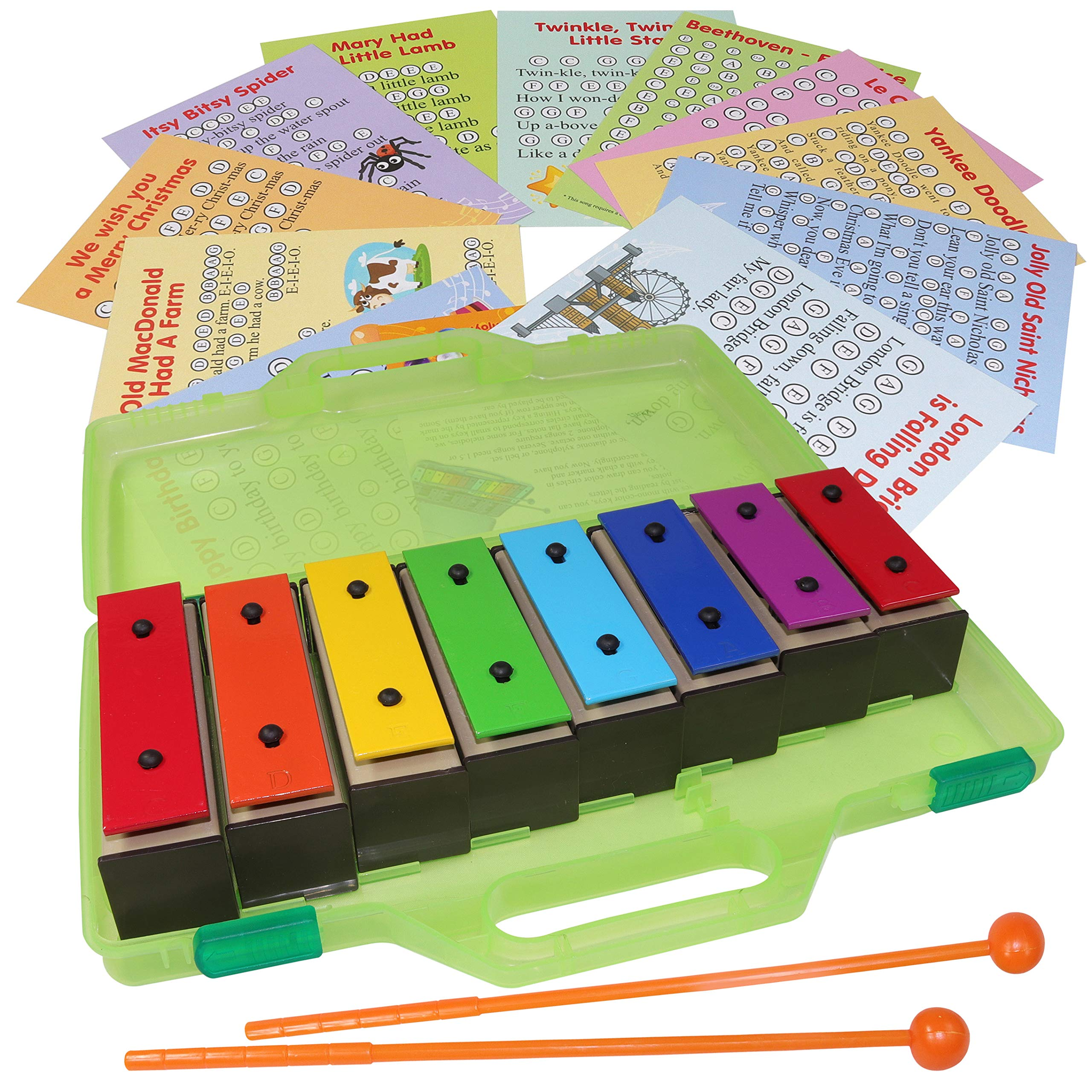 Chime Bar - Resonator Bells with Songs - Color Glockenspiel 8 Note Xylophone Kit - Song Cards by inTemenos