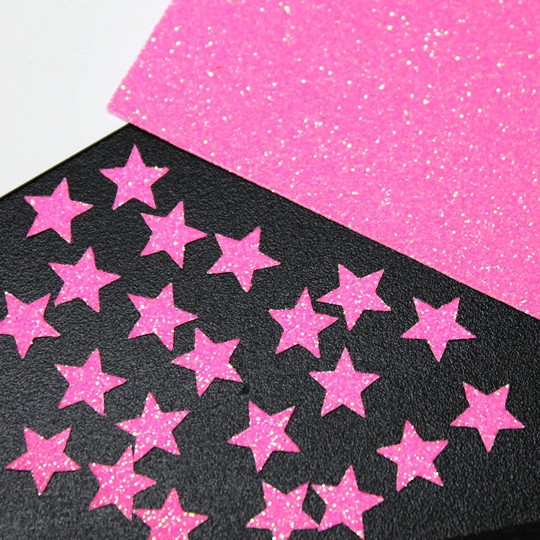 30 étoiles 1cm Flex thermocollant GLITTER ROSE BONBON- NEON PINK SAFIRMES